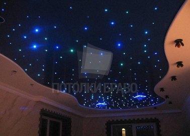 Синий звездный натяжной потолок НП-564
