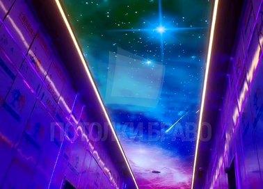 Космический матовый натяжной потолок с фиолетовой подсветкой НП-565 - фото 2
