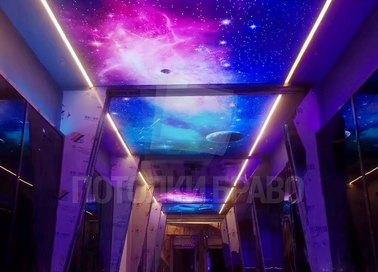 Космический матовый натяжной потолок с фиолетовой подсветкой НП-565 - фото 3