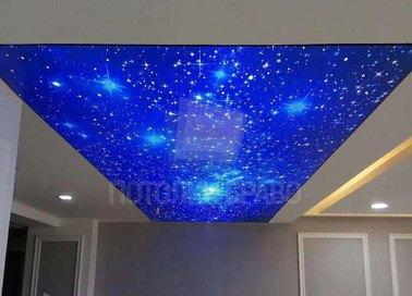 Синий матовый натяжной потолок со звездным небом НП-568