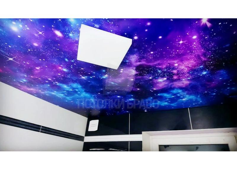 Матовый натяжной потолок с рисунком млечного пути НП-577
