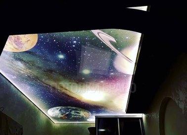 Матовый космический натяжной потолок с подсветкой НП-582