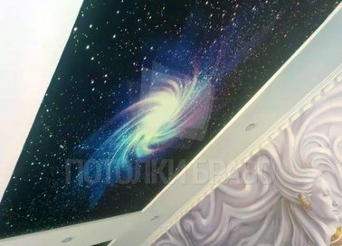 Матовый натяжной потолок под углом с рисунком космоса НП-585 - фото 2