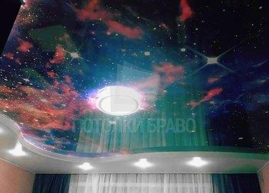 Матовый натяжной потолок с рисунком Галактики НП-590