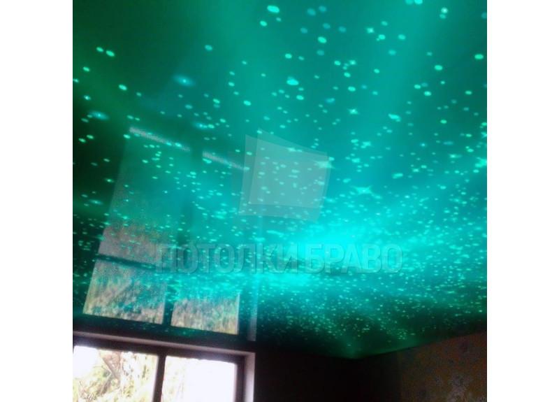 Изумрудный натяжной потолок со звездным небом НП-591