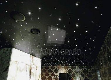 Черный сатиновый натяжной потолок с точечным освещением НП-597 - фото 2