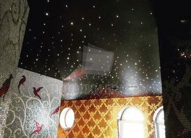 Черный сатиновый натяжной потолок с точечным освещением НП-597 - фото 3