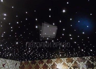 Черный сатиновый натяжной потолок с точечным освещением НП-597