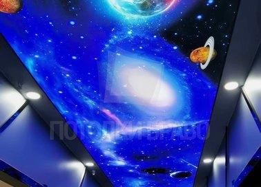 Красивый космический натяжной потолок для коридора НП-598