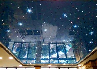 Синий глянцевый натяжной потолок с точечными светильниками НП-599