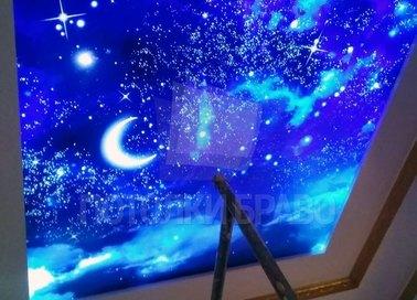 Матовый космический натяжной потолок в комнату для мальчика НП-600