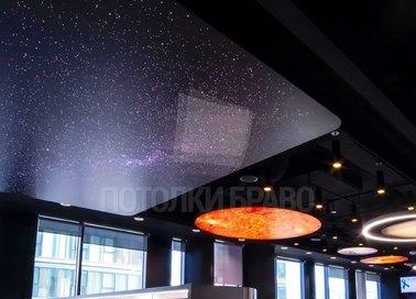 Фантастический темный натяжной потолок для холла НП-602