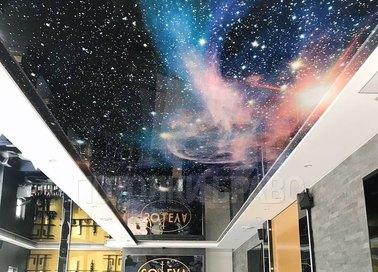 Глянцевый космический натяжной потолок для ресторана НП-603