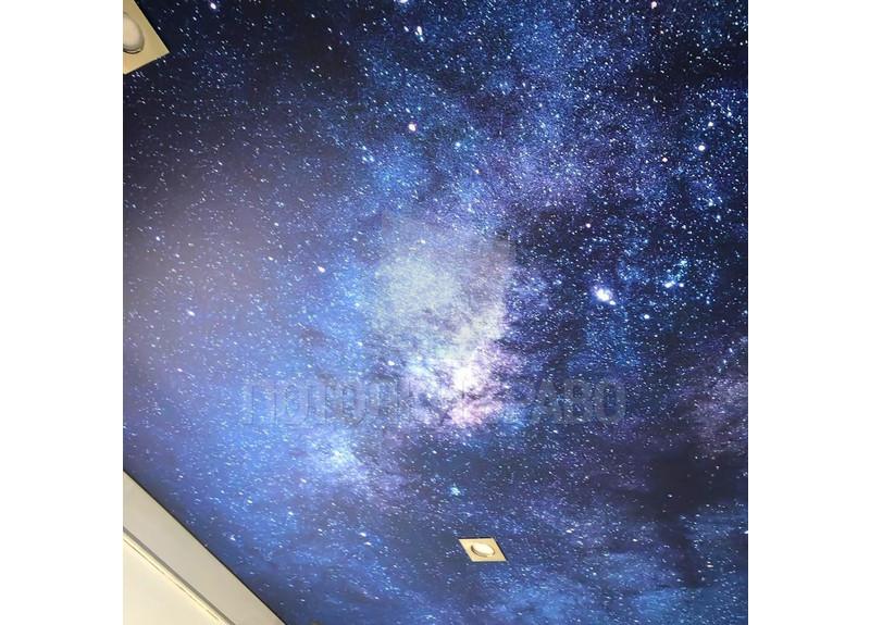 Звездный синий натяжной потолок с блестками НП-604 - фото 2