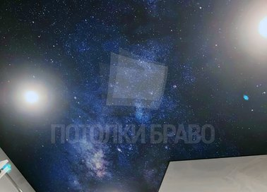 Звездный синий натяжной потолок с блестками НП-604