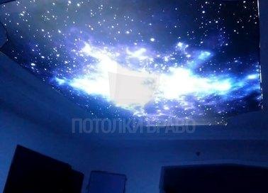 Синий космический матовый натяжной потолок НП-606