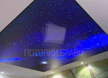 Синий блестящий матовый натяжной потолок НП-609 - фото 2