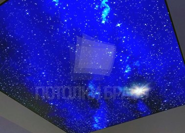 Синий блестящий матовый натяжной потолок НП-609 - фото 3