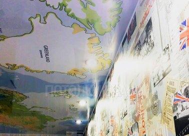 Матовый натяжной потолок с рисунком карты мира НП-627 - фото 2