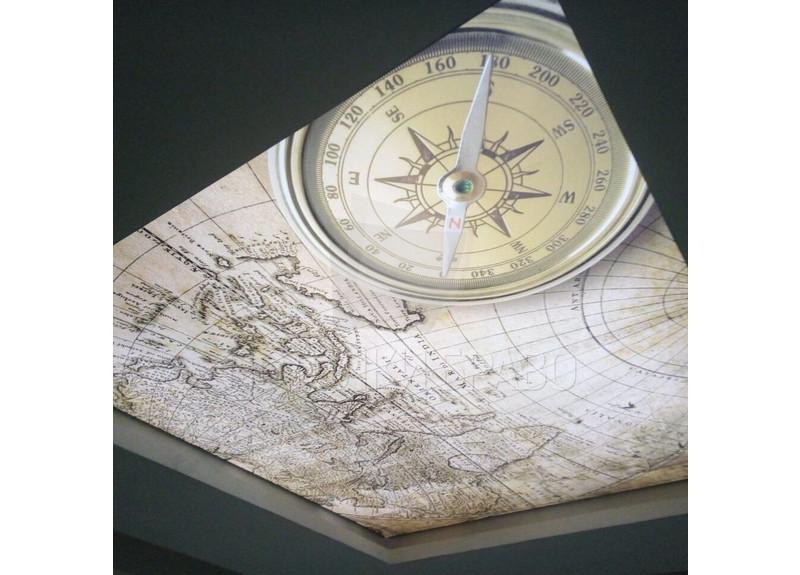 Матовый натяжной потолок с рисунком карты и глобуса НП-1147