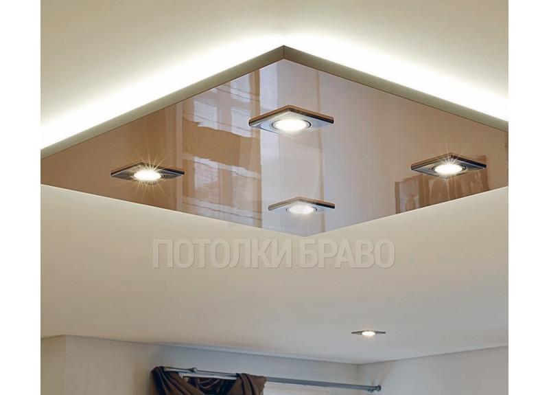 Бежевый матовый натяжной потолок с коричневой вставкой НП-630
