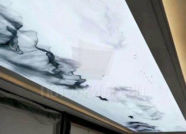 Матовый белый натяжной потолок с серой дымкой НП-667