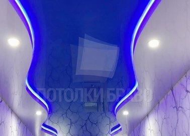 Синий матовый натяжной потолок в коридор НП-674