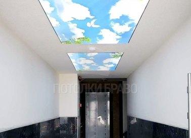 Белый натяжной потолок с небесными вставками НП-676