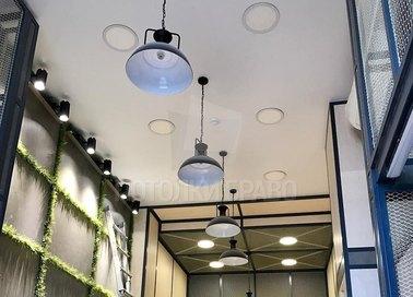 Матовый серый натяжной потолок со светильниками НП-697 - фото 2