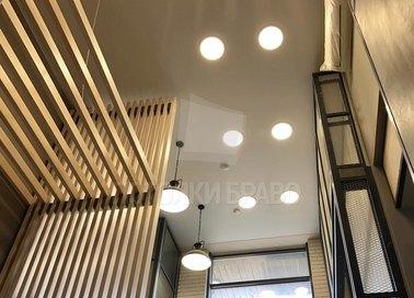 Матовый серый натяжной потолок со светильниками НП-697 - фото 3