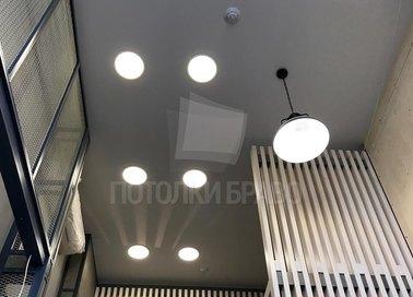 Матовый серый натяжной потолок со светильниками НП-697 - фото 4