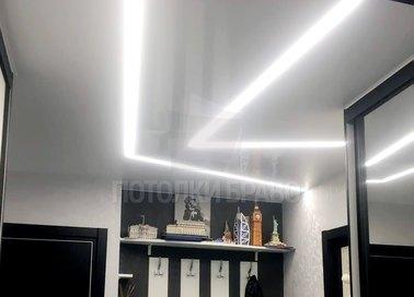 Матовый натяжной потолок с LED подсветкой для коридора НП-705