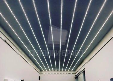 Темный сатиновый натяжной потолок с LED-подсветкой НП-710