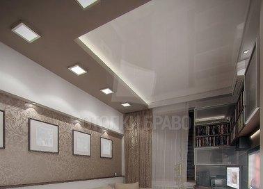 Бежевый матовый натяжной потолок со светильниками НП-752 - фото 2