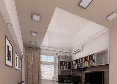 Бежевый матовый натяжной потолок со светильниками НП-752