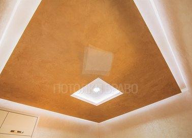 Двухуровневый оранжевый натяжной потолок НП-754