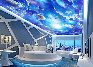Матовый космический натяжной потолок для спальни НП-762