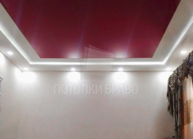 Двухуровневый матовый красный натяжной потолок НП-763 - фото 2