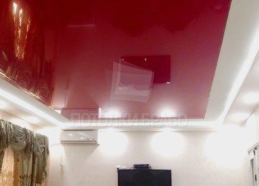 Двухуровневый матовый красный натяжной потолок НП-763
