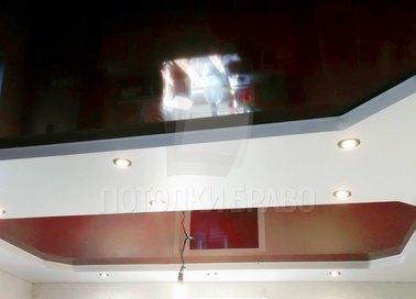 Двухуровневый черно-белый натяжной потолок НП-764