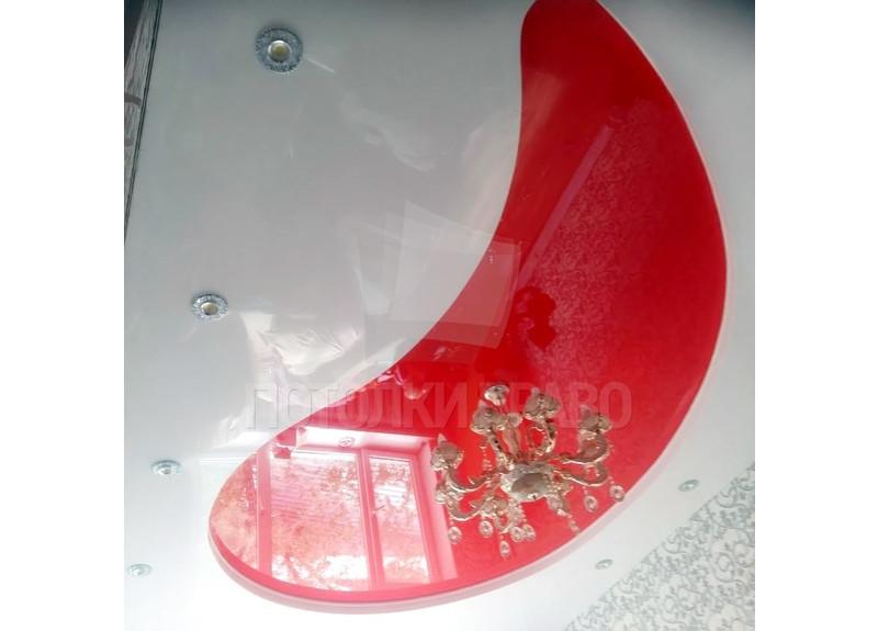 Красно-белый глянцевый натяжной потолок НП-765