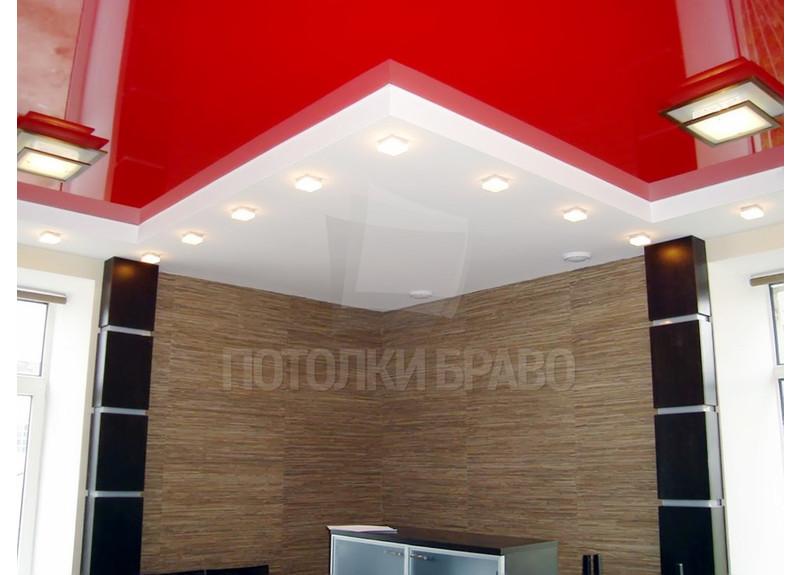 Двухуровневый красно-белый натяжной потолок НП-766