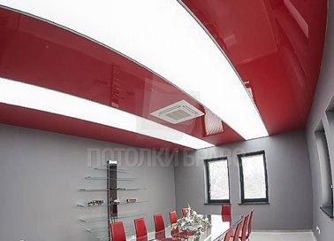 Глянцевый красный натяжной потолок с диодными лентами НП-768