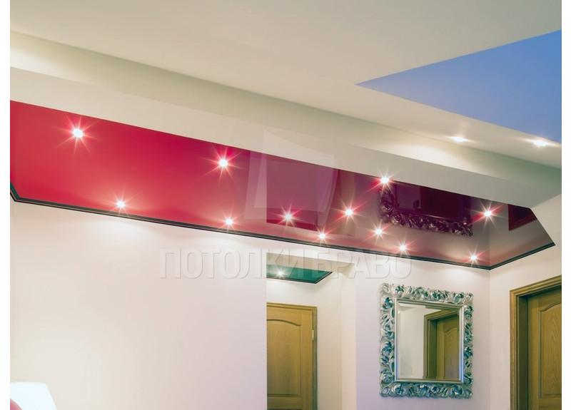 Красный глянцевый натяжной потолок для мансарды НП-771 - фото 2