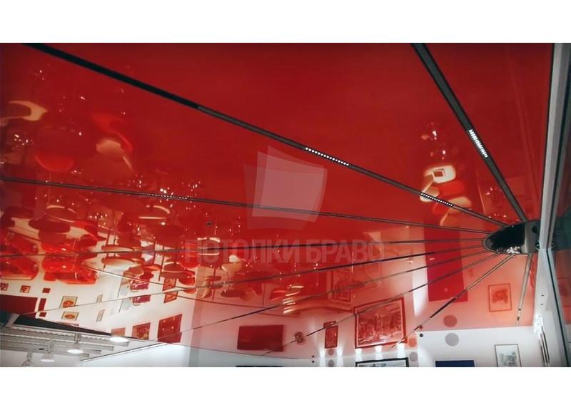 Глянцевый красный натяжной потолок НП-777