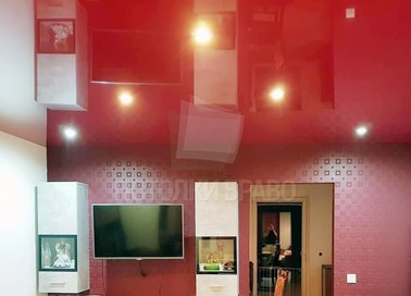 Красный глянцевый натяжной потолок для кухни НП-780 - фото 2
