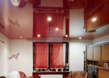 Красный глянцевый натяжной потолок для кухни НП-780