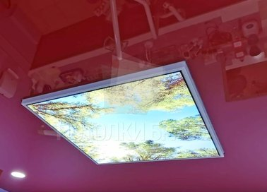 Красный глянцевый натяжной потолок с изображением НП-783