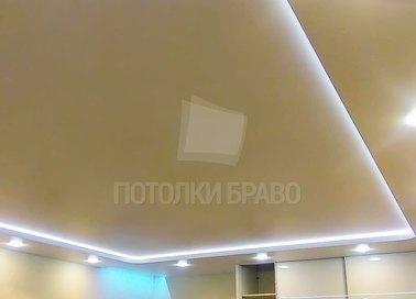 Матовый желтый натяжной потолок с подсветкой НП-801