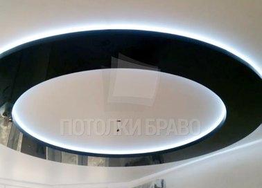 Матовый натяжной потолок с круглой глянцевой вставкой НП-824